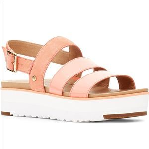 UGG Braelynn Platform Sandals Peach Leather Size 7